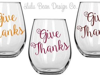 6 Thanksgiving Stemless Give Thanks Wine Glasses Perfect for Fall Personalized