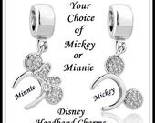 DISNEY MiNNIE or MiCKEY MOUSE Ears ~ Crystal Headband ~ Excellent Quality ~ Rhodium Plated Dangle Charm Bead ~ fits European Bracelets ~ MD-