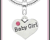 BaBY GIRL ~ Dual-Sided HEART Shape ~ Dangle Charm Bead with Tiny PiNK Rhinestone ~ New Baby ~ fits European Bracelets - MD