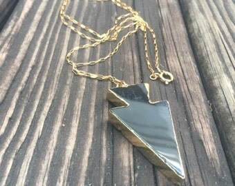 Black Necklace - Arrow Jewelry - Gold Jewellery - Southwestern - Native American - Chain