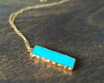 Turquoise Necklace - Gold Jewelry - Pendant - Gemstone Jewellery - Long - Fashion - Boho