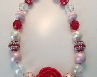 Valentine's Day Red, Pink and Ivory Hearts Girls Chunky Bubblegum Bead Necklace