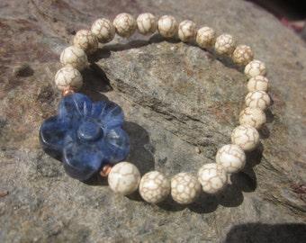 Sodalite White Turquoise (Magnesite) Bracelet: SaveYourNerves!