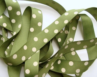7/8 Dotted Grosgrain Ribbon - Willow Green with Ivory Dots - 5 yards