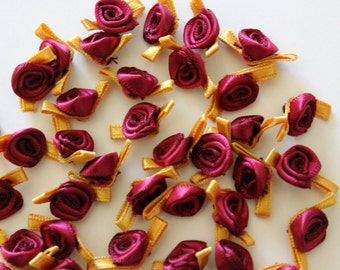 Satin Ribbon Roses in Rose Wine with Willow Colored Leaves