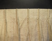 Reserved  for Sara/ Woven Textured Lined Curtains -Two Medium Length Panels-Pinch Pleated Tops-Mid Century Danish Modern Neutral Palette