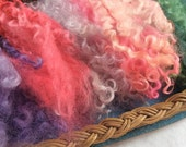 Hand Dyed British Wool locks 85gms Mixed curls for Waldorf Dolls, Art Dolls, Blythe Dolls, Puppets Hair and Wigs 'Fairytale' colorway