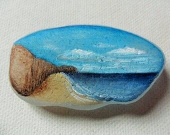 SEAHAM Beach - Original miniature painting on English sea glass