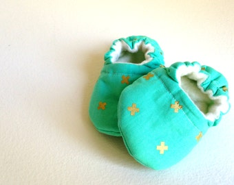 Baby Shoes, MINT & GOLD, Gender Neutral Baby Shoes, Soft Sole Baby Shoes, Booties, Girl Baby Shoes, Boy Baby Shoes,