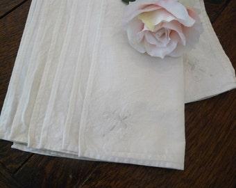 7 (+3)  Vintage Cream Linen Napkins - 1980s 15.5in x 15.5in