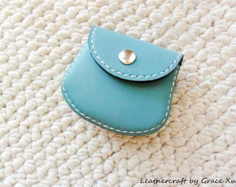 100% hand stitched handmade turquoise cowhide leather Ipod, ear buds, earphone, coin, trinket, jewelry, case / pouch
