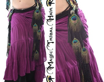 Belly Dance PEACOCK FEATHER TASSELS Black Paradise Tribal Fusion belt Goth hip scarf adornment Gothic Lolita hair jewelry Peacock extensions