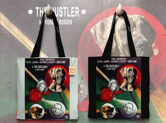 Great Dane Art Tote Bag - The Hustler Movie Poster   Perfect CHRISTMAS Gift SALE 30 off Free Shipping