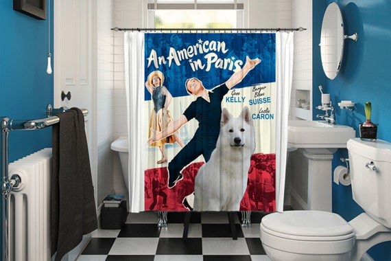 White Shepherd Art Shower Curtain, Dog Shower Curtains, Bathroom Decor - An American in Paris Movie Poster by Nobility Dogs