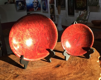 Set of two Red Morrell Burl Display/ Candy Bowls