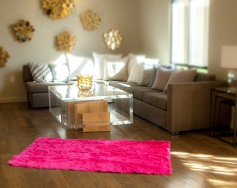 fur faux area rug 5u0027 x 8u0027 new premium hot pink shag nursery room