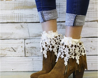 Lace socks for booties, ankle socks, crochet, lace, romantic, vintage,shoes, boots, boot socks, anklets, wedding, bridal,ivory | CS16