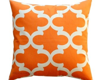 Moroccan Pillow, Fynn Apache Orange Pillow Cover, Zipper Closure, Orange Cushion Cover, Quatrefoil Pillow Case, Orange Throw Pillow, Custom