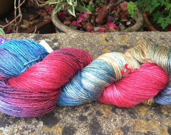 """100grms hand painted fingering weight yarn bfl/silk """" northern lights"""""""