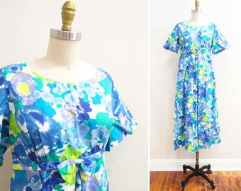 Vintage 1960s Dress | Brilliant Blue Watercolor Floral Print 1960s Hawaiian Dress | size small - medium