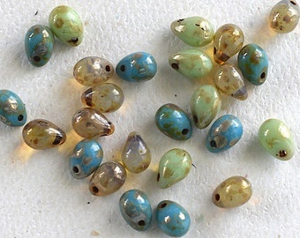 Teardrop Czech Glass Picasso Bead Mix -5X7mm- 25 Pieces - (AN6-57)