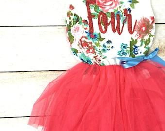 4th Birthday Tutu Dress / Birthday Outfit Girl, Toddler Dress, Baby Girl Dress, Birthday Dress, Birthday Girl, Tutu Dress, Girl Clothing