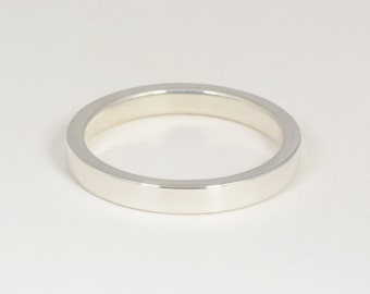 White Gold Band: 2mm X 3mm Solid 14kt White Gold Band