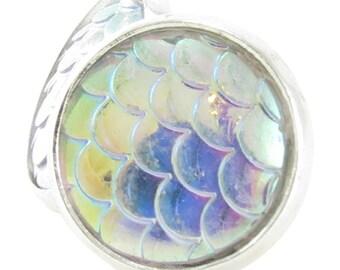 Iridescent White Rainbow Mermaid Scale Earring Studs (OOAK-00012)