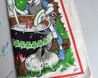 Leprechaun Irish Stew Recipe - Irish Linen Tea Towel