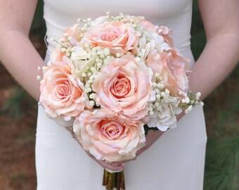 Silk Wedding Bouquet, Wedding Bouquet, Keepsake Bouquet, Bridal Bouquet Peach Rose , White Hydrangea and Babies Breath wedding bouquet.