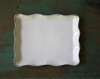 Golden Scrolls Porcelain Dish, Vintage Victoria Dish, Porcelain Trinket Dish, Embossed Porcelain Dish