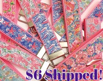 Lilly Pulitzer Inspired Key Fob / Lilly Pulitzer Key Chain / Lilly Pulitzer Key Holder / Lilly Pulitzer Preppy Key holder