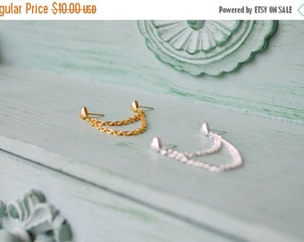 VALENTINES DAY SALE Heart Chain Double Pierce Cartilage Earring (Set of 2)