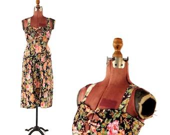 Vintage 1970's Crisp Cotton Romantic Floral Print Smocked Hippie Boho Market Sun Dress S M