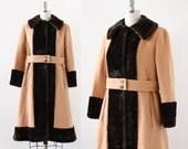 Vintage Wool and Faux Fur Coat / Vintage 1940s Coat / Brown Fit and Flare Coat / Medium