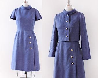 1960s Denim Dress / Dress and Jacket set / 1960s Dress / 1960s Blue A Line Dress / Peggy Dress