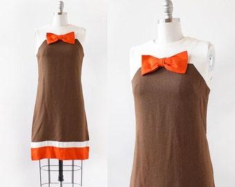 1960s Dress / Bow Shift Dress / 1960s Mini Dress / Mod Dress / Extra Small Small