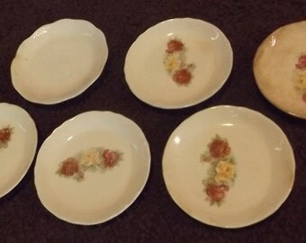 Set of 6 vintage rose decal butter pats or dishes for children, faeries, woodland creatures to use for tea parties, faerie gardens, etc.