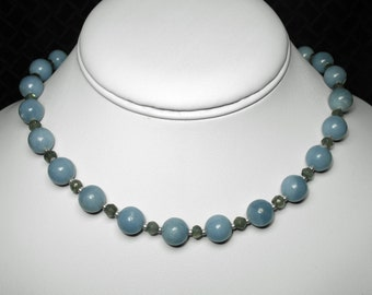 """Angelite and Labradorite Necklace in Silver, 16.5"""""""