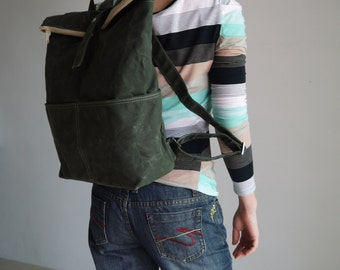 Sale SALE - ZEN, Dark Green, Canvas Backpack, Waxed Canvas Backpack , Satchel, Rucksack, School Backpack, Hipster Backpack,  40% OFF