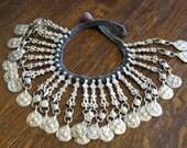 vintage tribal asian tibetan metal coin like necklace