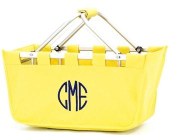 Monogrammed Yellow Market Tote, Monogrammed Yellow Market Basket, French Market Tote, Saturday Market Tote, Reusable Market Basket, Car Tote