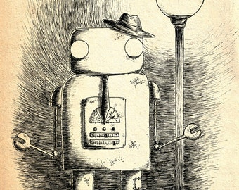Hobo Robot- A4 robot art print by Jon Turner- geeky robotics artwork
