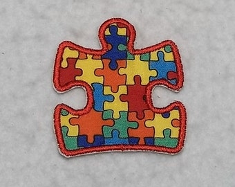 Autism Awareness Puzzle Piece (large) Tutu & Shirt Supplies - fabric iron on Applique Patch p 7677