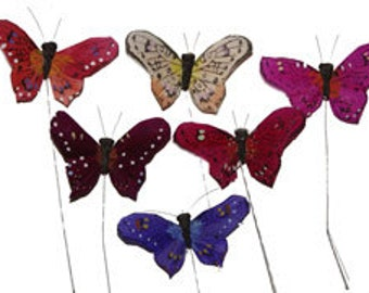 12 pc 3 Inch Feather Butterflies (BF791) Festive Butterflies for Decorating, Costumes, Floral Arrangements, Parties & Weddings