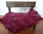Plum Felted Curly Wool Fluff Layer/ Mat/ Basket Stuffer Photo Prop, Wool Baby Blanket/Wrap, READY TO SHIP