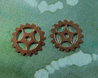 2 Bright Copper Gears Charms Charm Altered Art Collage Mixed Media Jewelry Two-Sided #1