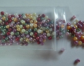 SALE!! 50% OFF!! Rainbow Mix Glass Pearls Loose 200 Pieces Jewelry 4mm Gorgeous Colors Jewelry Supplies