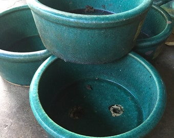 Authentic vintage Chinese green ceramic planters