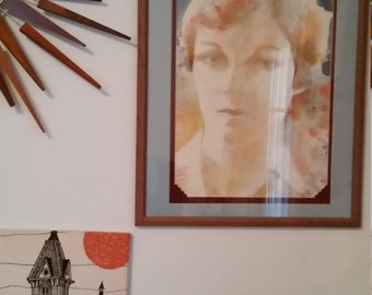 Original Mid Century Portrait of a Lady Watercolor